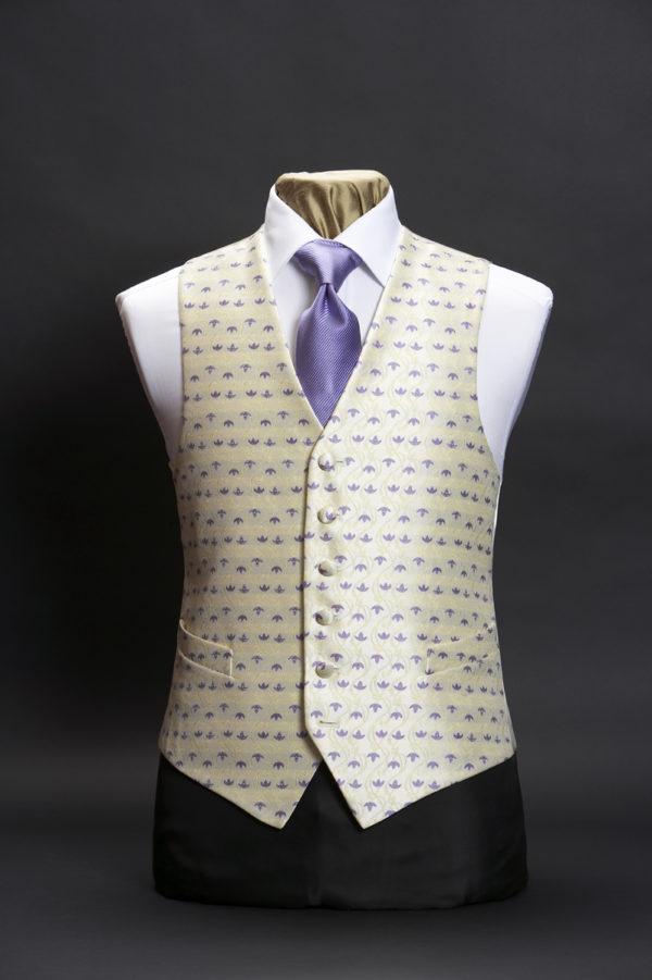 Cream silk waistcoat with lilac tulips