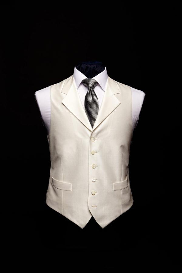 Plain ivory silk waistcoat with lapels