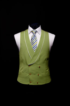 Green linen double-breasted waistcoat with ivory piping