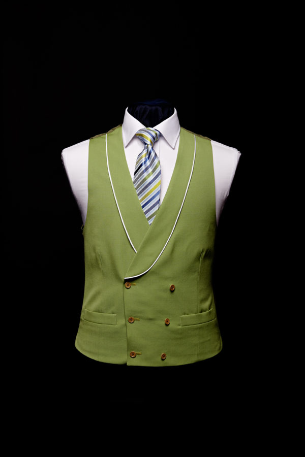 Green double breasted linen waistcoat with ivory silk piping