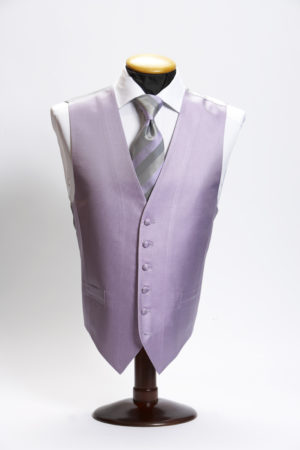 Lilac silk small basket weave waistcoat