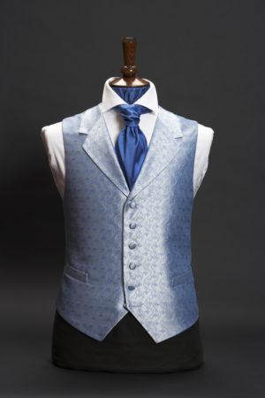 Blue silk tulips waistcoat with lapels