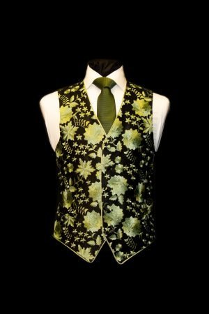 Black silk embroidered waistcoat with lime green embroidery
