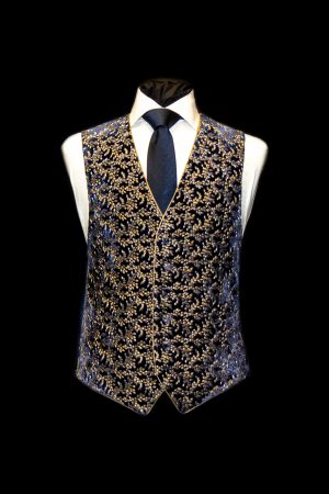 Navy blue silk velvet embroidered waistcoat with gold embroidery