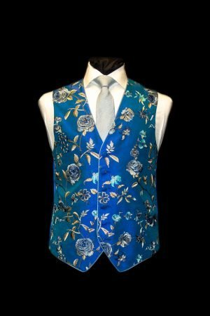 Electric blue silk embroidered waistcoat with turquoise flowers