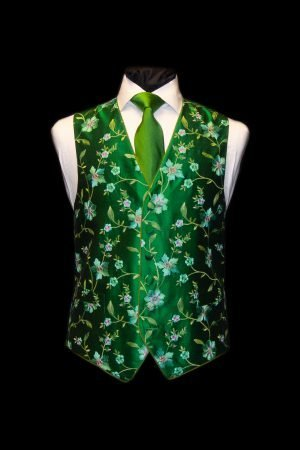 Green pink and turquoise silk embroidered floral waistcoat