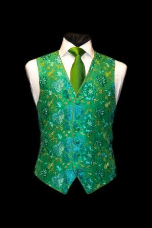 Green and turquoise silk floral embroidered waistcoat
