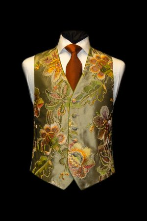 Green and orange silk floral embroidered waistcoat