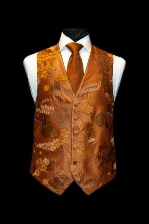 Dark orange and old gold silk embroidered waistcoat