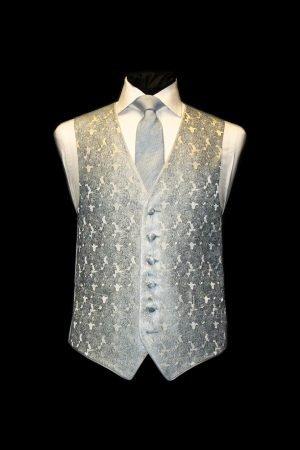 Sky blue silk jacquard waistcoat with roses