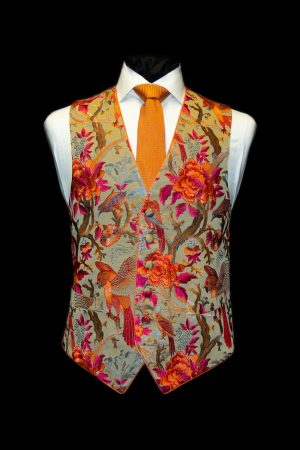 Pink and orange embroidered limited edition waistcoat with birds