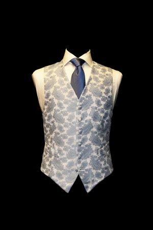 Blue jacquard paisley vintage silk waistcoat