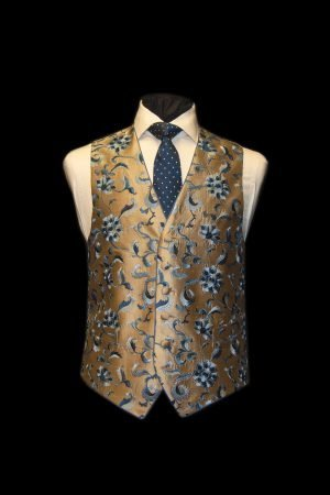 Gold silk waistcoat with light blue and dark blue embroidery