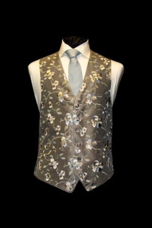 Grey silk embroidered waistcoat with blue and white flowers