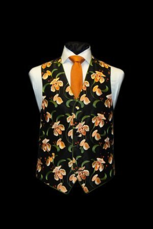 Black silk waistcoat with burnt orange and green flowers