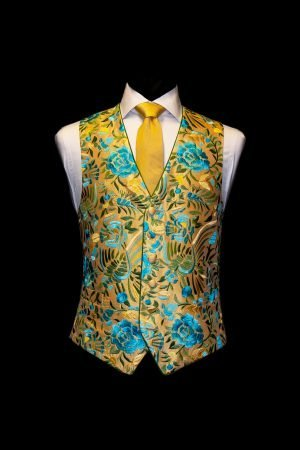 Yellow silk waistcoat with turquoise embroidery