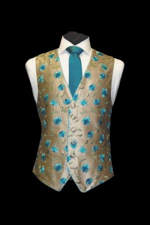 Turquoise and gold silk embroidered waistcoat