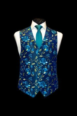 Turquoise and blue silk embroidered waistcoat