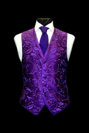 Purple silk paisley embroidered waistcoat