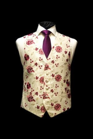 Cream silk waistcoat with fuchsia pink and gold embroidery