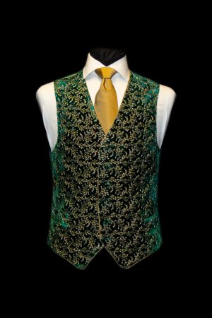 Green silk velvet embroidered waistcoat with gold embroidery