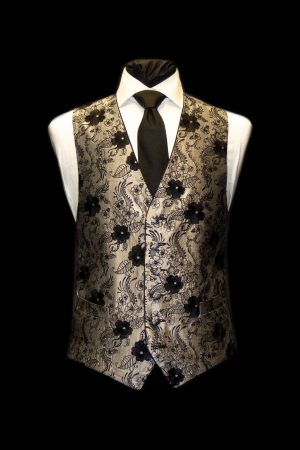 Silver and black silk embroidered waistcoat