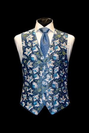 Blue and ivory silk embroidered waistcoat