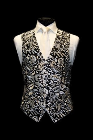 Black and white silk paisley embroidered waistcoat