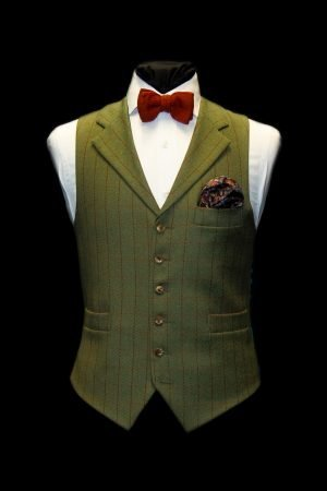 Green wool tweed waistcoat with burnt orange checks