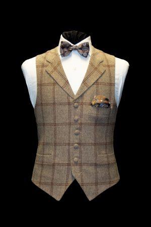 Beige tweed wool waistcoat with brown checks