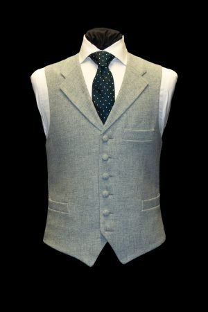 Light blue tweed wool waistcoat