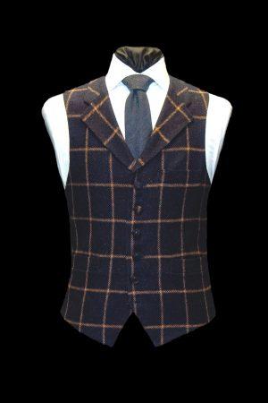 Navy blue tweed wool waistcoat with brown checks