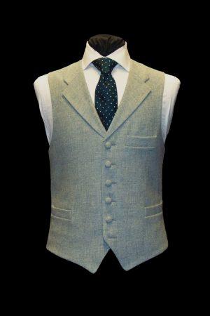 Light blue tweed wool waistcoat