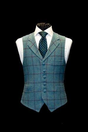 Turquoise blue tweed wool waistcoat with purple checks