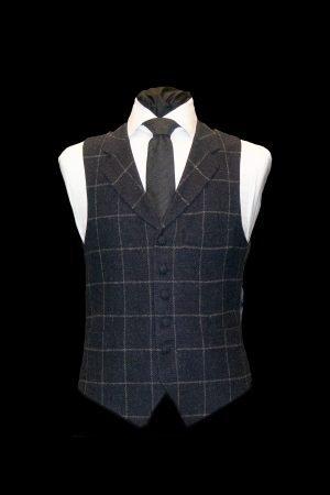 Navy blue tweed wool waistcoat with grey checks