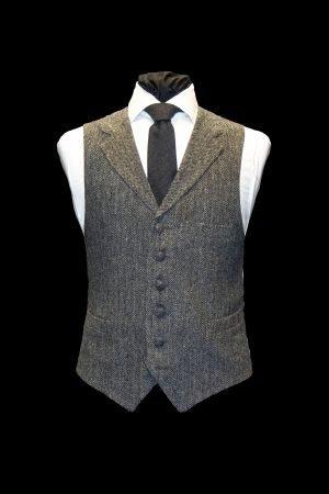 Grey herringbone tweed wool waistcoat