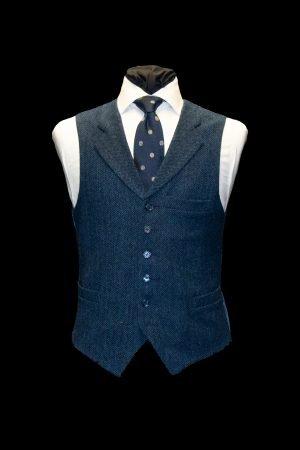 Blue herringbone tweed wool waistcoat
