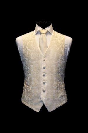 Ivory silk paisley jacquard waistcoat