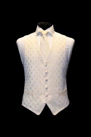 Ivory silk waistcoat with ivory bees