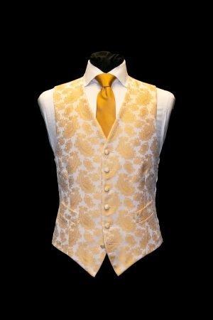 Gold silk paisley jacquard waistcoat