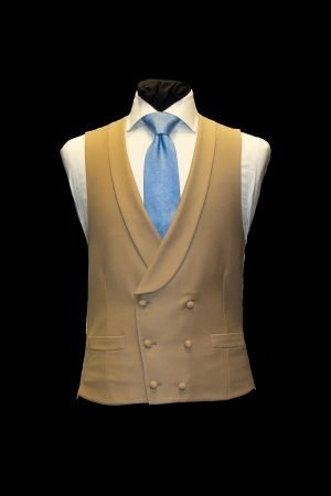 Men's Beige fawn double-breasted wool six button waistcoat