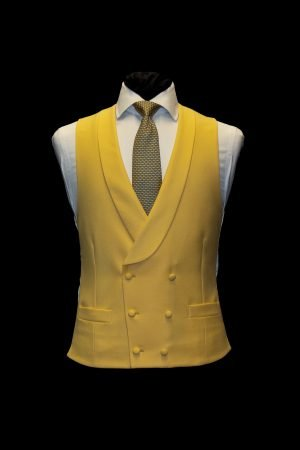 Daffodil yellow wool double-breasted waistcoat