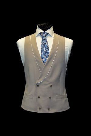Beige double-breasted wool waistcoat with piping