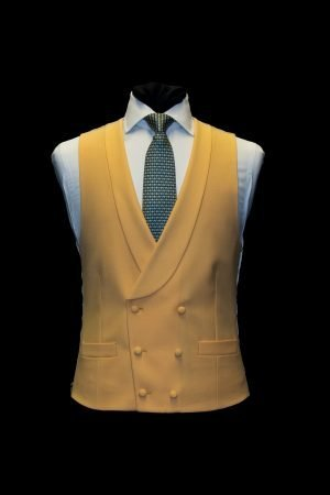 Mustard yellow wool double-breasted waistcoat