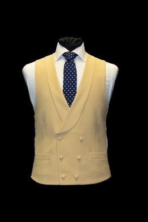 Buttermilk yellow double-breasted wool waistcoat