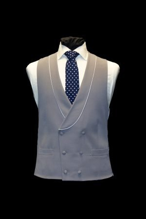 Grey wool double-breasted waistcoat with ivory piping