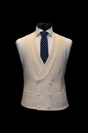 Mens Ivory six button double-breasted wool waistcoat