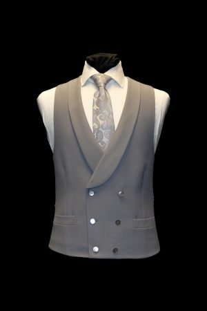 Dove grey wool double-breasted waistcoat with mother of pearl buttons