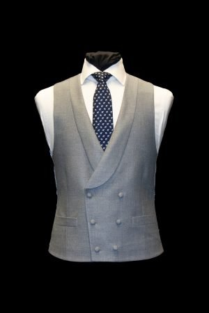 Grey double-breasted silk and wool basketweave waistcoat