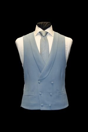 Cornflower blue cavalry twill wool double-breasted waistcoat